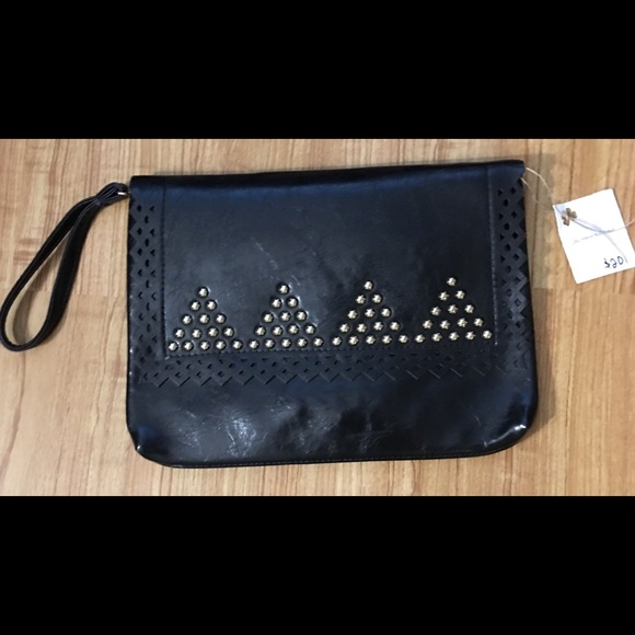 aaf1a72f41 Bags | Perforated Studs Large Black Clutch Handbag New | Poshmark
